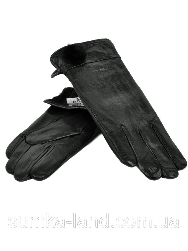 Женские черные кожаные перчатки на флисе