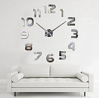 """Настенные часы 3D Большие """"Onesize"""" - часы наклейка с зеркальным эффектом, необычные настенные часы стикеры"""