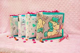 Книжка из ткани для детей, Мягкая книжка с единорогом Handmade, 10 страниц, фото 3