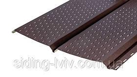 Металевий софіт для підшивки даху під дошку Коричневий перферація (фальш брус металевий)