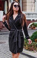 Женское велюровое платье с запахом, фото 1