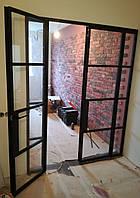 Распашные классические Loft перегородки из стали и стекла, фото 1