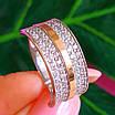Серебряное кольцо с камнями и золотом - Женское кольцо из серебра с фианитами и золотом, фото 2