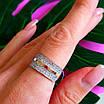 Серебряное кольцо с камнями и золотом - Женское кольцо из серебра с фианитами и золотом, фото 5