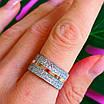 Серебряное кольцо с камнями и золотом - Женское кольцо из серебра с фианитами и золотом, фото 4