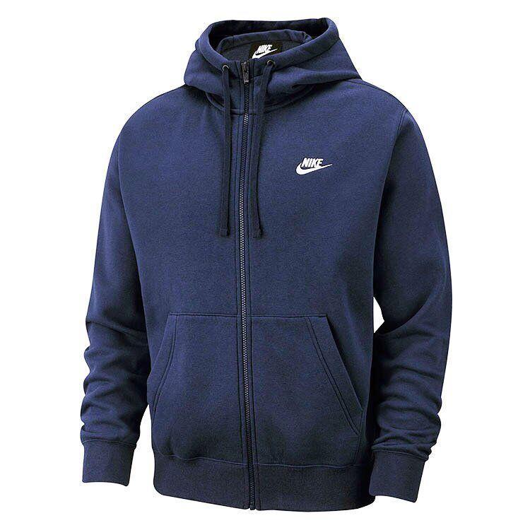 Худи мужское Nike флисовое с капюшоном синее M NSW CLUB HOODIE FZ BB