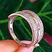 Серебряное кольцо с камнями и золотом - Женское кольцо из серебра с фианитами и золотом, фото 3