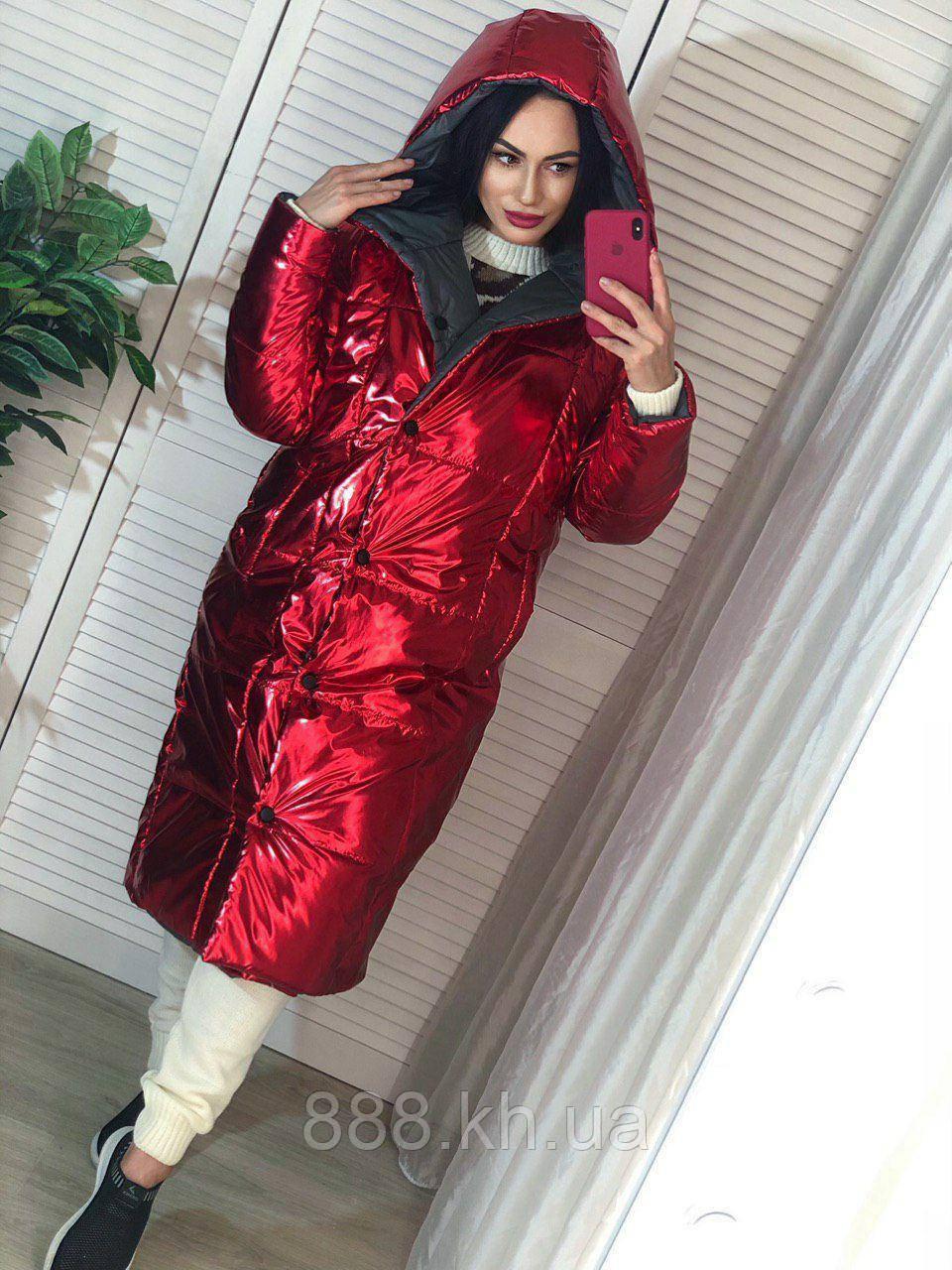 Трендовый женский двухсторонний пуховик, 42-48р, цвет красный/черный