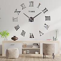 """Настенные часы 3D Большие """"Rome"""" - 3Д часы наклейка с зеркальным эффектом, необычные настенные часы стикеры"""