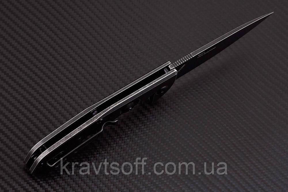 Нож складной E571 black stonewashed-7132 + В ПОДАРОК РУЧНОЙ ФОНАРЬ