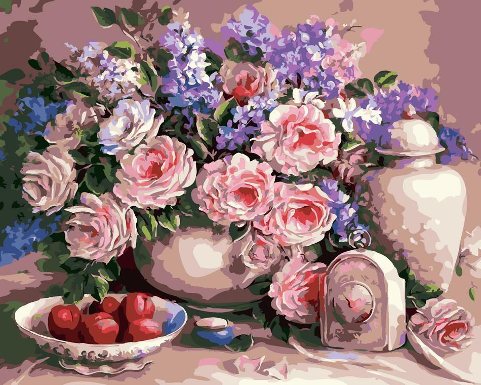 Картина рисование по номерам ArtStory Чайні троянди 40х50см AS0006 набор для росписи, краски, кисти, холст