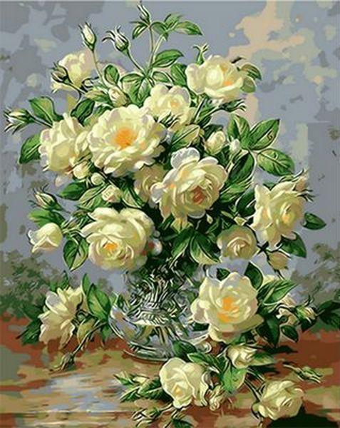 Картина рисование по номерам Букет белых роз. Худ. Альберт Уильямс, 40x50 см., Babylon Premium набор для