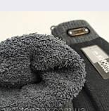 Рукавички чоловічі вовняні тільки чорні з махрової підкладкою довжина 23 см, фото 4