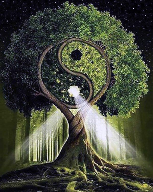 Картина рисование по номерам Чарівний діамант Дерево жизни – Инь и Янь РКДИ-0066 40х50см набор для росписи,