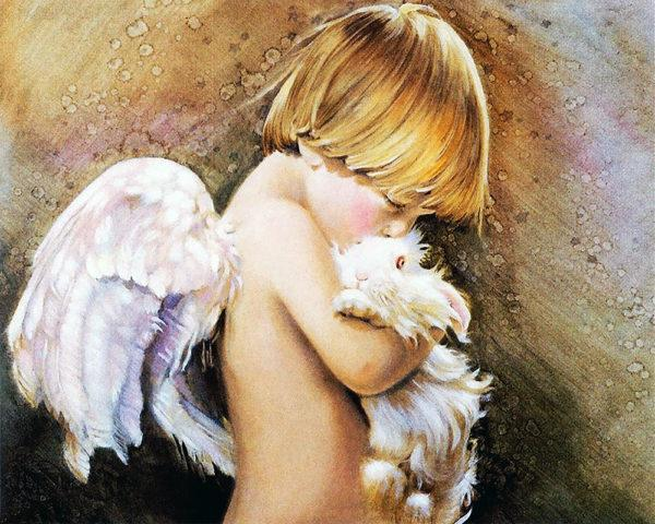 Картина рисование по номерам Чарівний діамант Ангелочек – Нежность РКДИ-0203 40х50см набор для росписи,
