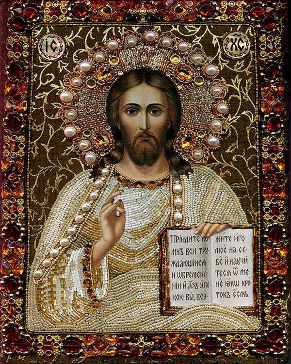 Картина рисование по номерам Чарівний діамант Ікона Іісус Христос РКДИ-0118 40х50см набор для росписи, краски,