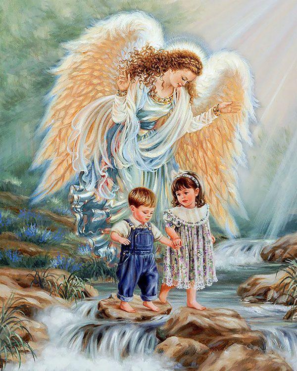 Картина рисование по номерам Чарівний діамант Ангел – детей Хранитель РКДИ-0074 40х50см набор для росписи,