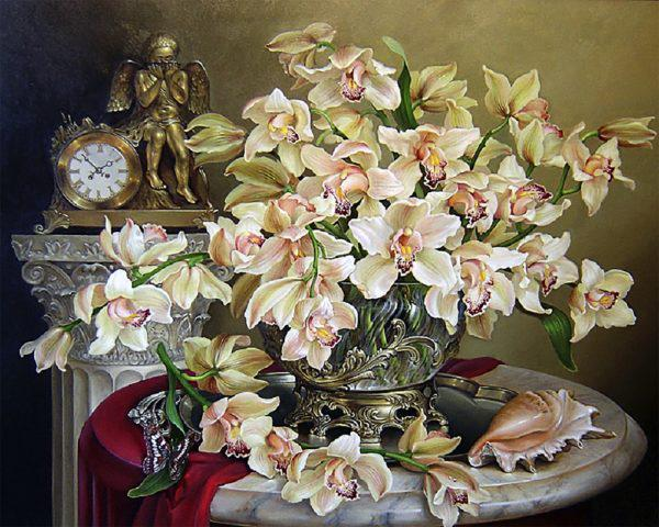 Картина рисование по номерам Чарівний діамант Великолепие орхидей РКДИ-0073 40х50см набор для росписи, краски,
