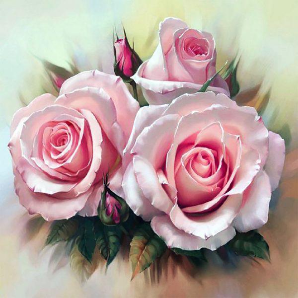 Картина рисование по номерам Чарівний діамант Нежность роз-2 РКДИ-0051 40х40см набор для росписи, краски,