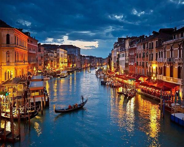Картина рисование по номерам Чарівний діамант Вечерняя Венеция РКДИ-0248 40х50см набор для росписи, краски,