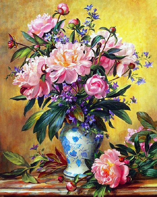 Картина рисование по номерам Чарівний діамант Букет прекрасных пионов РКДИ-0155 40х50см набор для росписи,