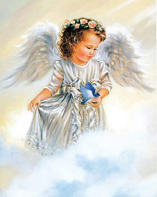 Картина рисование по номерам Чарівний діамант Ангелочек с птичкой РКДИ-0030 40х50см набор для росписи, краски,