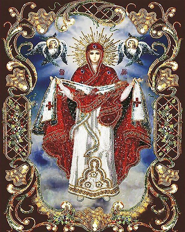 Картина рисование по номерам Чарівний діамант  Ікона Покрова Пресвятой  Богородицы РКДИ-0075 40х50см набор для