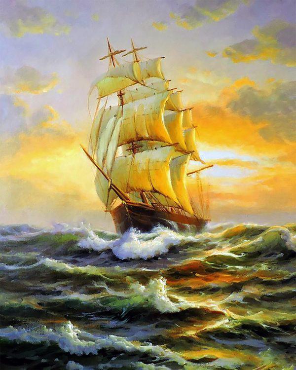 Картина рисование по номерам Чарівний діамант Преодолевая волны РКДИ-0052 40х50см набор для росписи, краски,