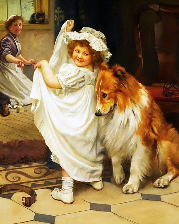 Картина рисование по номерам Чарівний діамант Купание с Колли РКДИ-0050 40х50см набор для росписи, краски,