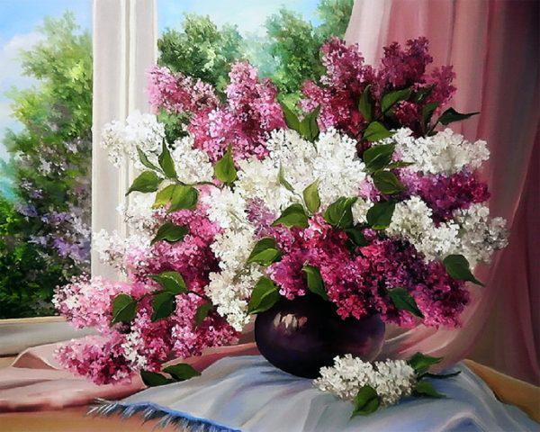 Картина рисование по номерам Чарівний діамант Букет сирени у окна РКДИ-0077 40х50см набор для росписи, краски,