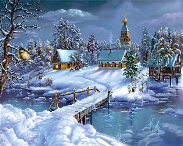 Картина рисование по номерам Чарівний діамант Прекрасная зимняя сказка РКДИ-0106 40х50см набор для росписи,