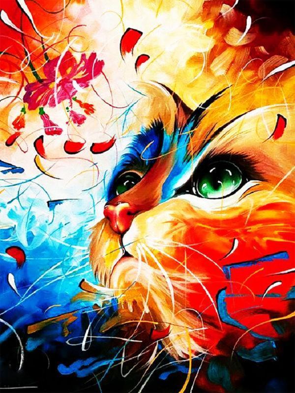 Картина рисование по номерам Чарівний діамант Котик с цветком РКДИ-0215 30х40см набор для росписи, краски,