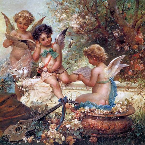 Картина рисование по номерам Чарівний діамант Три милых ангела РКДИ-0213 40х40см набор для росписи, краски,