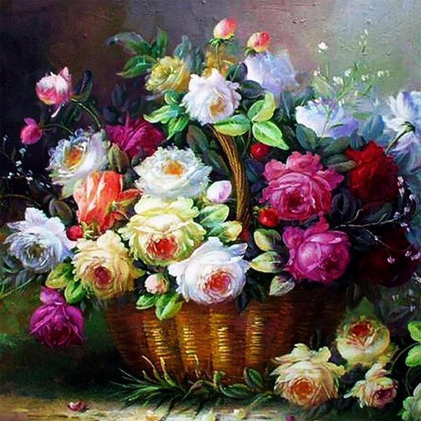 Картина рисование по номерам Чарівний діамант Розовый аромат РКДИ-0230 40х40см набор для росписи, краски,