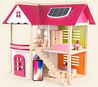 Деревянная игрушка двухэтажный детский домик с мебелью аксессуар для кукол и пупсов