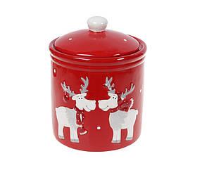 Банка керамическая с крышкой Братцы олени 1,2 л BonaDi Merry Christmas 834-324