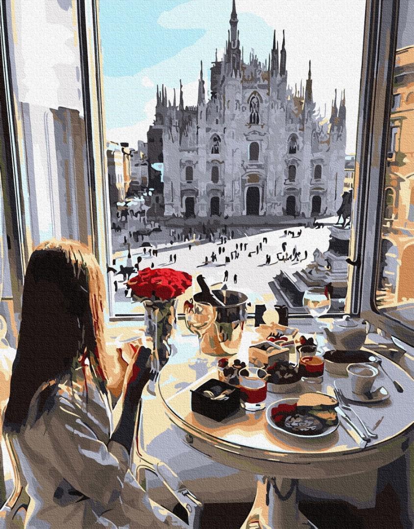 Картина рисование по номерам Завтрак в Милане PGX33249 40х50см набор для росписи, краски, кисти, холст