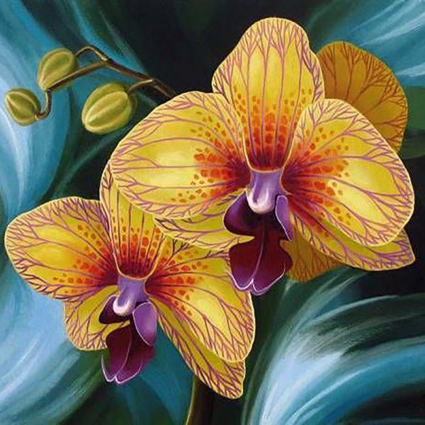Картина рисование по номерам Чарівний діамант Орхидея РКДИ-0227 40х40см набор для росписи, краски, кисти,