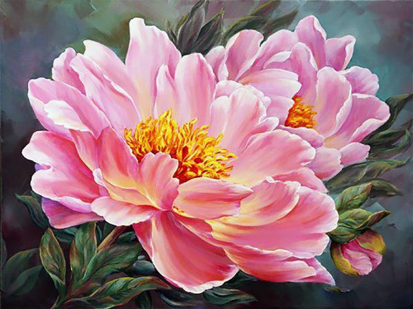 Картина рисование по номерам Чарівний діамант Розовый пион РКДИ-0142 30х40см набор для росписи, краски, кисти,