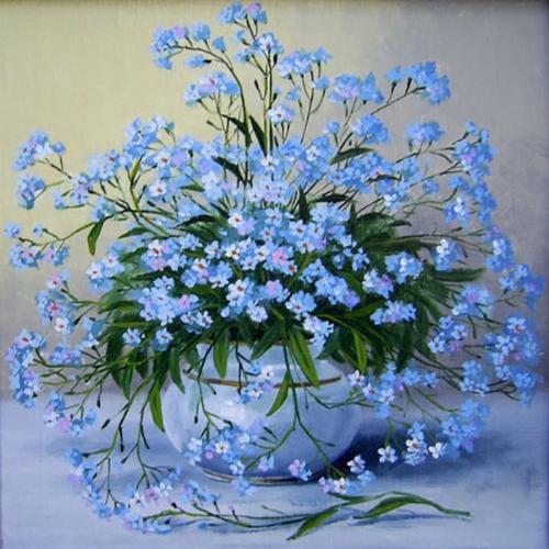 Картина рисование по номерам Чарівний діамант Букет незабудок РКДИ-0033 40х40см набор для росписи, краски,