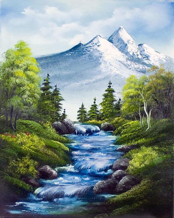Картина рисование по номерам Чарівний діамант Горная река РКДИ-0278 40х50см набор для росписи, краски, кисти,