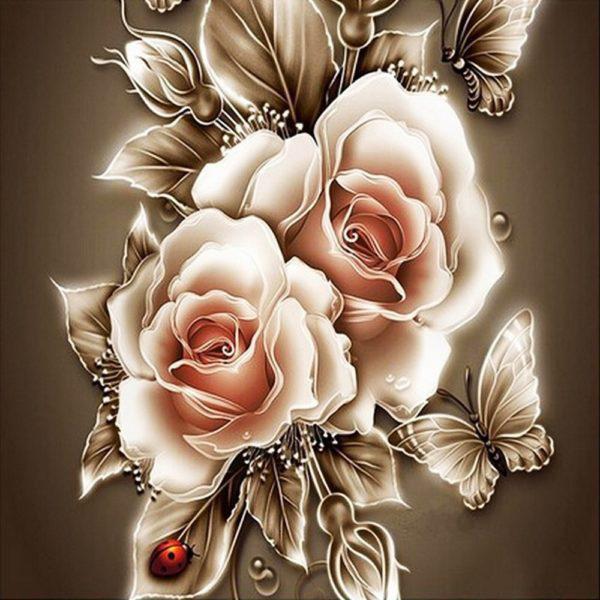 Картина рисование по номерам Чарівний діамант Карамельные розы РКДИ-0039 40х40см набор для росписи, краски,