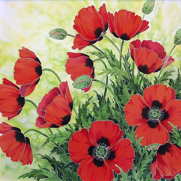 Картина рисование по номерам Чарівний діамант Красные маки – Батик РКДИ-0271 40х40см набор для росписи,