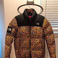 Пуховик зимний Supreme x The North Face Nuptse 700 Leopard Yellow - М, L, XL, XXL