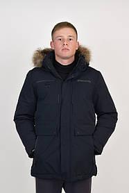 Мужская зимняя удлиненная куртка в темно/синем цвете