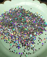 Конфетти чешуйки (шестигранники) голограмма серебро 3 мм, 10 грамм