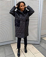 Женский стильное модное черное стеганное пальто плащевка на синтепоне 200 Мех эко-кролик