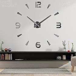 """Настенные часы 3D Большие """"Delta"""" - 3Д часы наклейка с зеркальным эффектом, необычные настенные часы стикеры"""