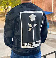 Свитер оверсайз мужской серый осенний с принтом розы на спине Широкий свитшот мужской серый с модным рисунком