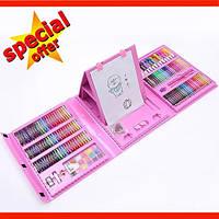 Набор Юного художника Vion для рисования 208 предметов с мольбертом розовый